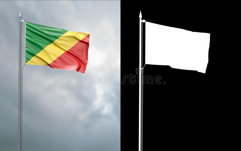 Tillståndsflagga av Republiken Kongo med den alfabetiska kanalen vektor illustrationer