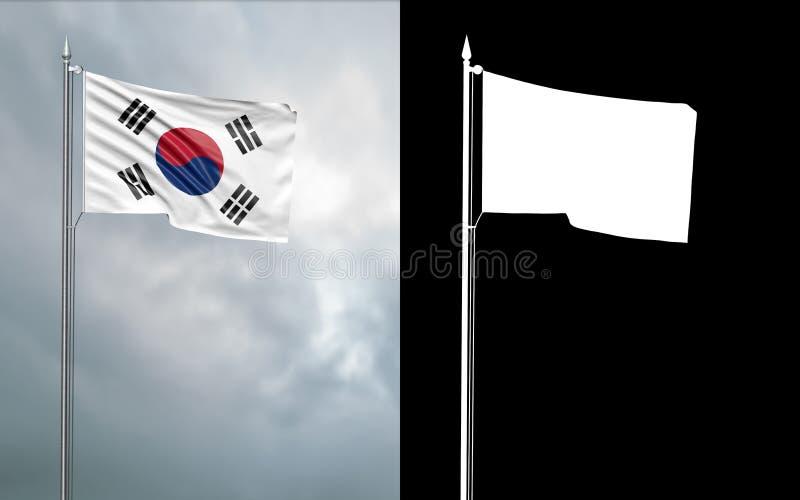 Tillståndsflagga av Republiken Korea med den alfabetiska kanalen vektor illustrationer