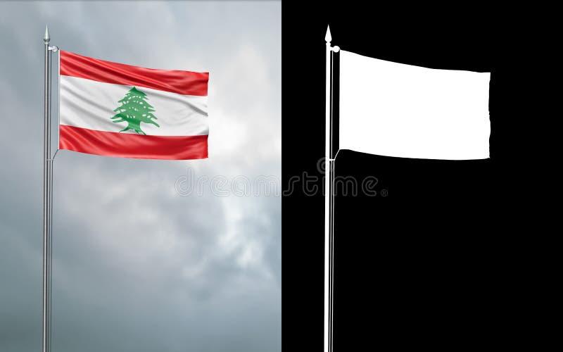 Tillståndsflagga av Republiken Libanon vektor illustrationer