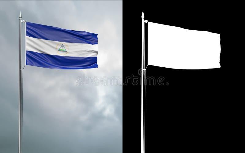 Tillståndsflagga av Republiken Nicaragua med den alfabetiska kanalen stock illustrationer