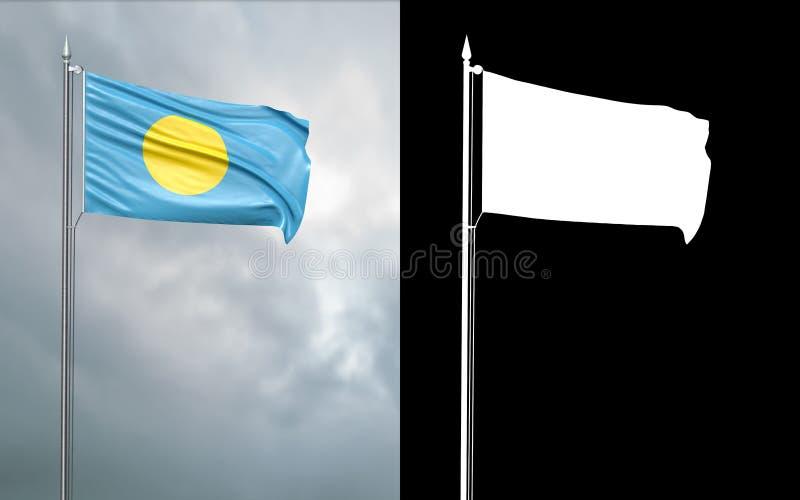 Tillståndsflagga av republiken av Palau med den alfabetiska kanalen stock illustrationer