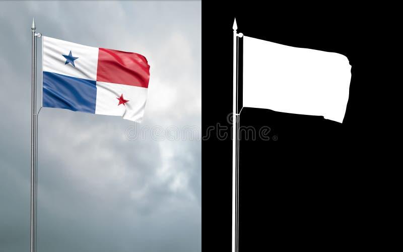 Tillståndsflagga av Republiken Panama med den alfabetiska kanalen stock illustrationer