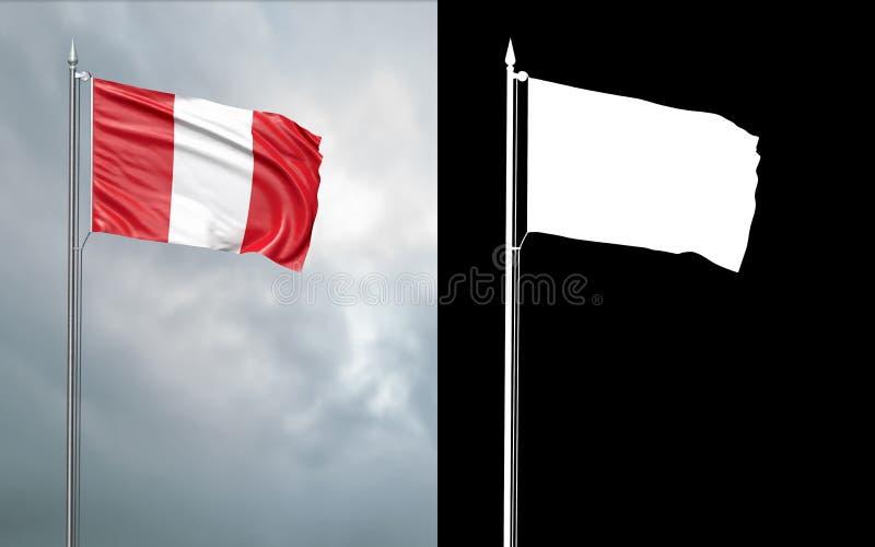 Tillståndsflagga av Republiken Peru med den alfabetiska kanalen stock illustrationer