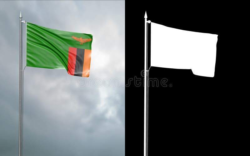 Tillståndsflagga av Republiken Zambia med den alfabetiska kanalen stock illustrationer