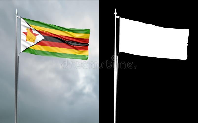 Tillståndsflagga av Republiken Zimbabwe med den alfabetiska kanalen royaltyfri illustrationer
