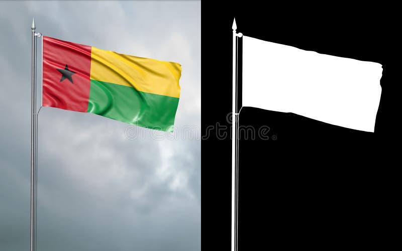 Tillståndsflagga av Republikenet Guinea-Bissau royaltyfri illustrationer