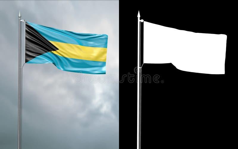 Tillståndsflagga av Samväldet Bahamas royaltyfri illustrationer