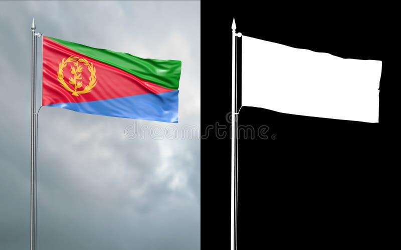 Tillståndsflagga av Staten Eritrea med den alfabetiska kanalen royaltyfri illustrationer