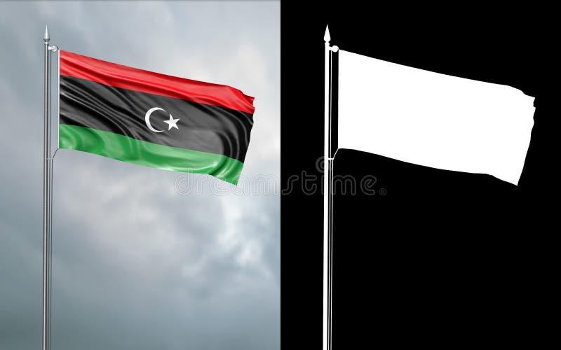 Tillståndsflagga av staten av Libyen med den alfabetiska kanalen royaltyfri illustrationer