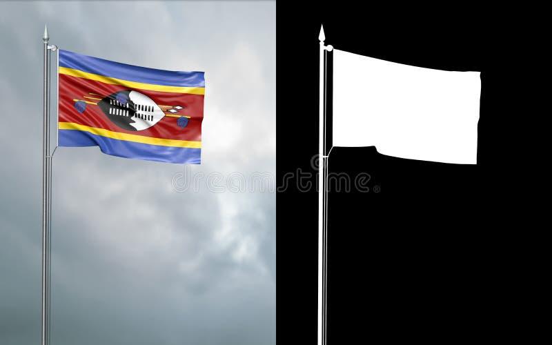 Tillståndsflagga av Swaziland med den alfabetiska kanalen vektor illustrationer