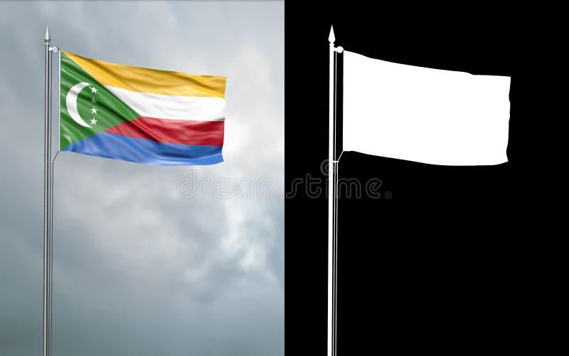 Tillståndsflagga av unionen av Komorerna med den alfabetiska kanalen stock illustrationer