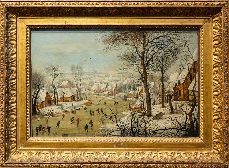 Tillståndsmuseum av konster som namnges efter SOM Pushkin - Pieter Brueghel, det mer ung, vinterlandskap med fågelfälla royaltyfria foton