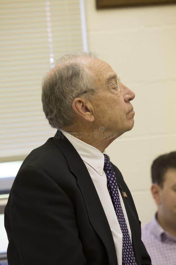 Tilltalar den judiciella ordföranden Charles Grassley för senaten konstituent royaltyfri foto