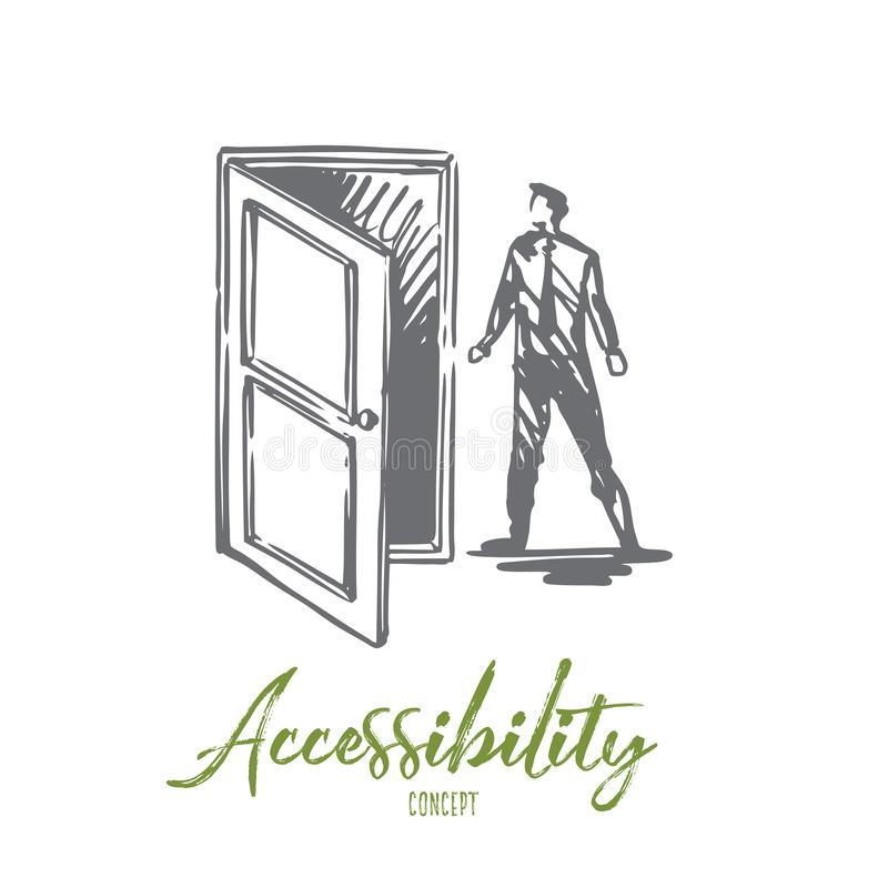 Tillträde dörr, öppnar, skriver in, affärsidéen Hand dragen isolerad vektor stock illustrationer