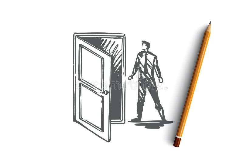 Tillträde dörr, öppnar, skriver in, affärsidéen Hand dragen isolerad vektor vektor illustrationer