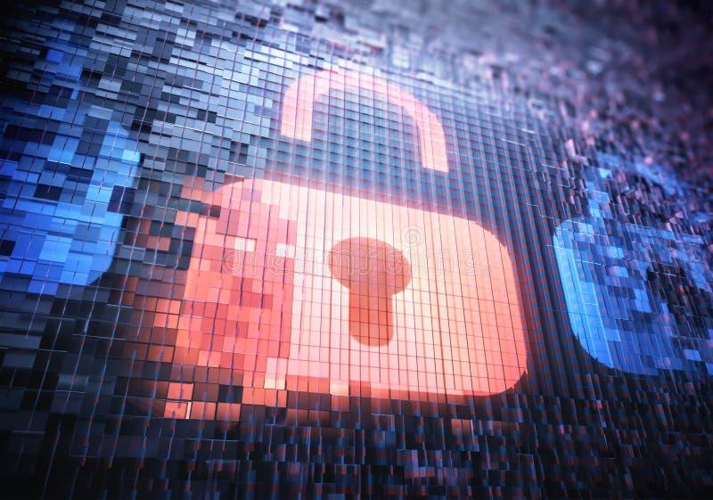Tillträde för en hacker för Digital säkerhetshänglås arkivbilder