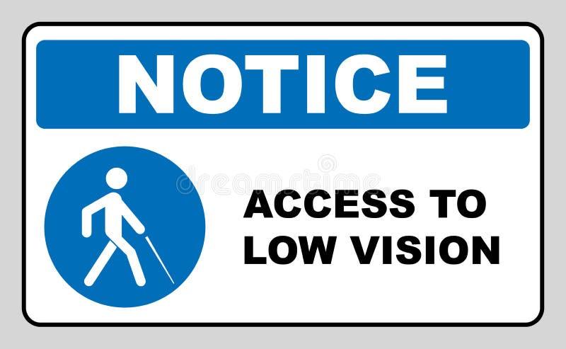 Tillträde till det låga visionsymbolet blindhetlinje symbol, illustration för översiktsvektorlogo, linjär pictogram som isoleras  stock illustrationer