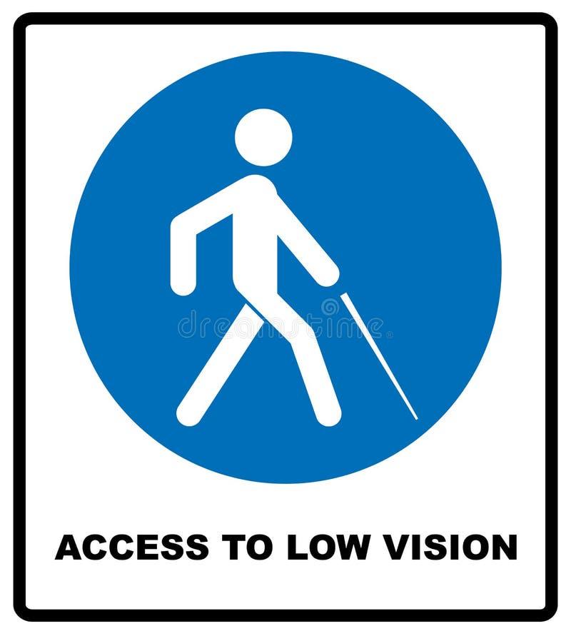 Tillträde till det låga visionsymbolet blindhetlinje symbol, illustration för översiktsvektorlogo, linjär pictogram som isoleras  royaltyfri illustrationer