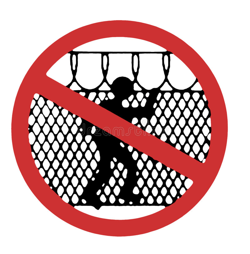 tillträde undertecknar inte varning stock illustrationer