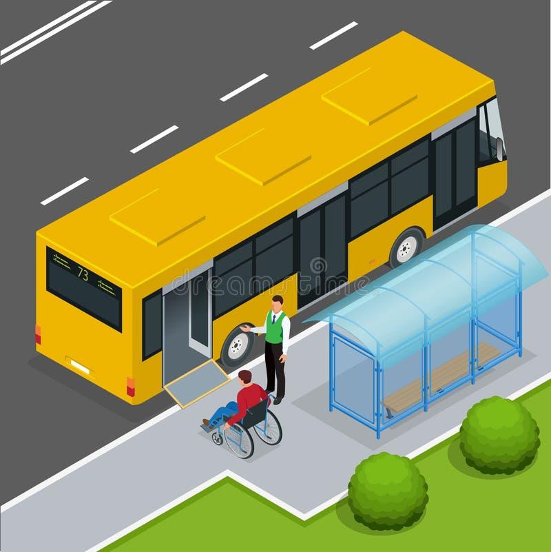 Tillträdesrampen för rörelsehindrade personer och behandla som ett barn i en buss royaltyfri illustrationer