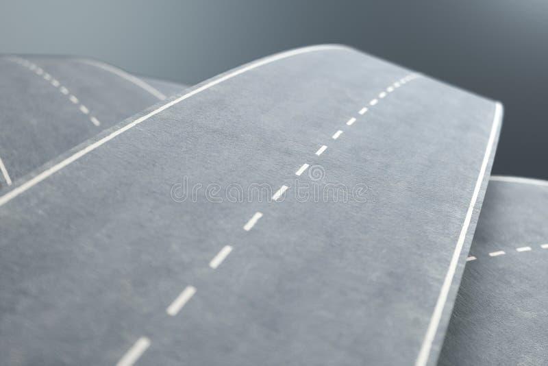 Tilltrasslade vägar och huvudvägar i ett kaotiskt Begreppet av en invecklad väg som har inget slut och ingen början Labyrint av stock illustrationer