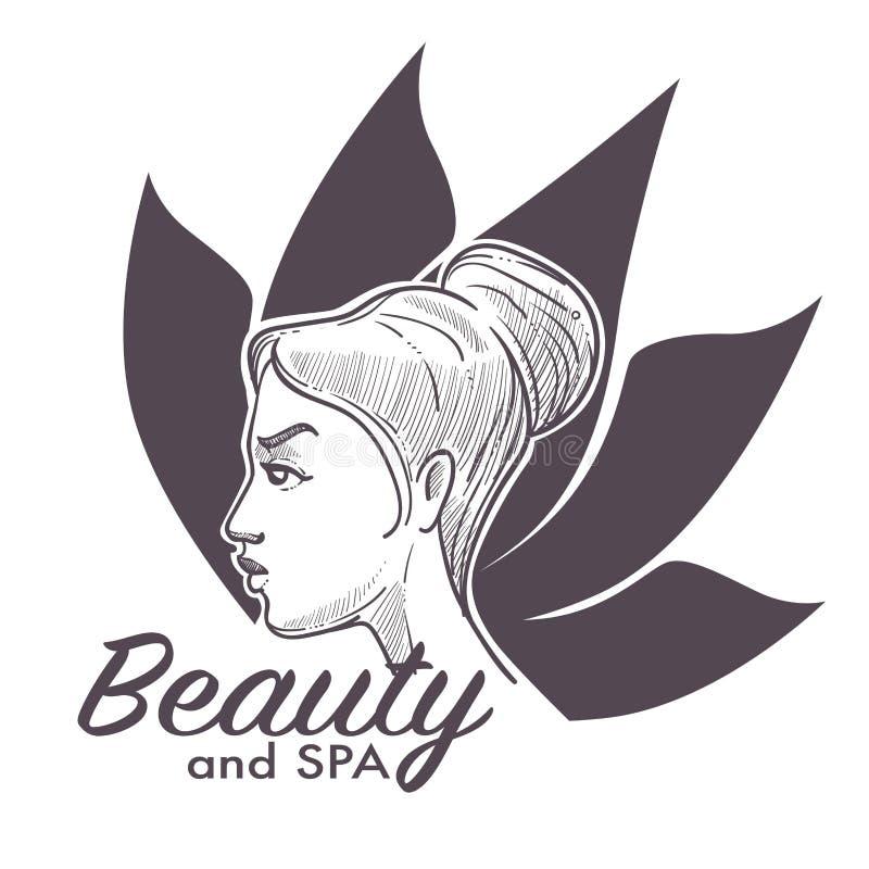 Tillvägagångssätt för brunnsort för skönhetsalong som gör kvinnan mer sund och avkopplad vektor illustrationer