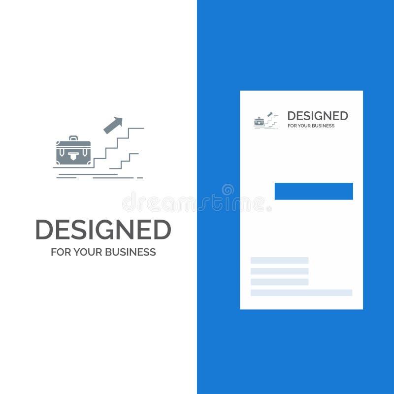 Tillväxt, affär, karriär, ledare, ledarskap, personligt, framgång Grey Logo Design och mall för affärskort royaltyfri illustrationer