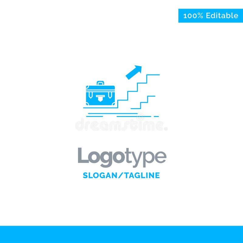 Tillväxt affär, karriär, ledare, ledarskap som är personligt, framgång blåa fasta Logo Template St?lle f?r Tagline stock illustrationer