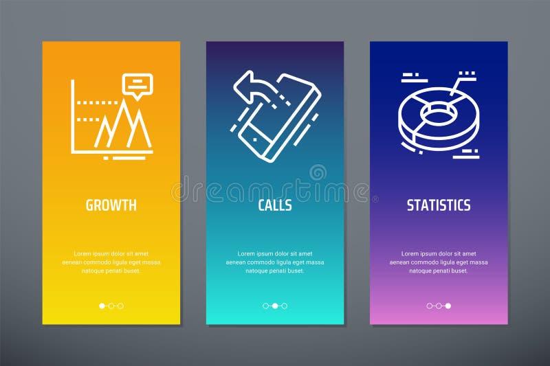 Tillväxt appeller, vertikala kort för statistik med starka metaforer stock illustrationer