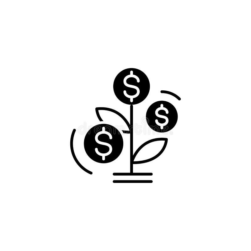 Tillväxt av begreppet för symbol för intäktträdsvart Tillväxt av symbolet för vektor för intäktträdlägenhet, tecken, illustration vektor illustrationer