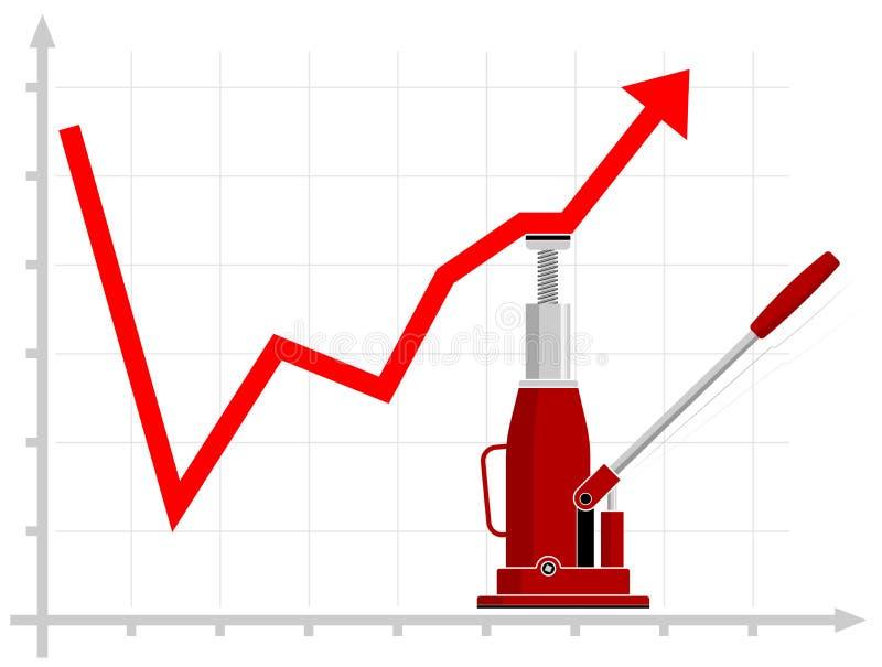 Tillväxt av finansiella indikatorer Lyfta resultat Den hydrauliska stålar hjälper att lyfta grafen på diagrammet royaltyfri illustrationer