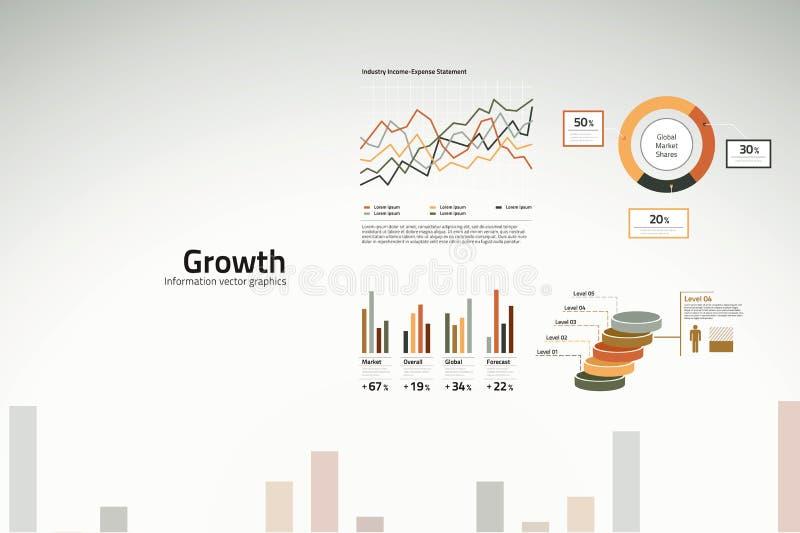 tillväxt för grafer för affärsdiagram royaltyfri illustrationer