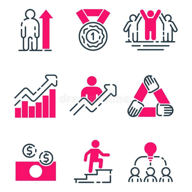 Tillväxt för teamwork för design för utveckling för strategi för affär för symbol för motivationbegreppsdiagram rosa och ledningl royaltyfri illustrationer
