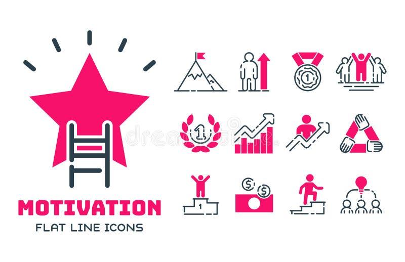 Tillväxt för teamwork för design för utveckling för strategi för affär för symbol för motivationbegreppsdiagram rosa och ledningl vektor illustrationer