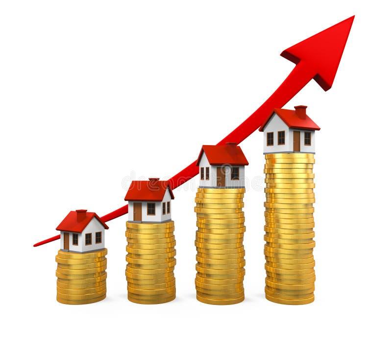 Tillväxt i den Real Estate illustrationen royaltyfri illustrationer