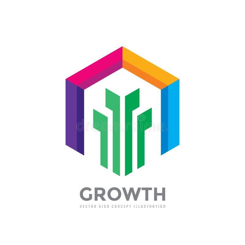 Tillväxt - illustration för begrepp för vektorlogomall Abstrakta färgrika designbeståndsdelar Naturgrodd med gräsplansidor i kulö stock illustrationer