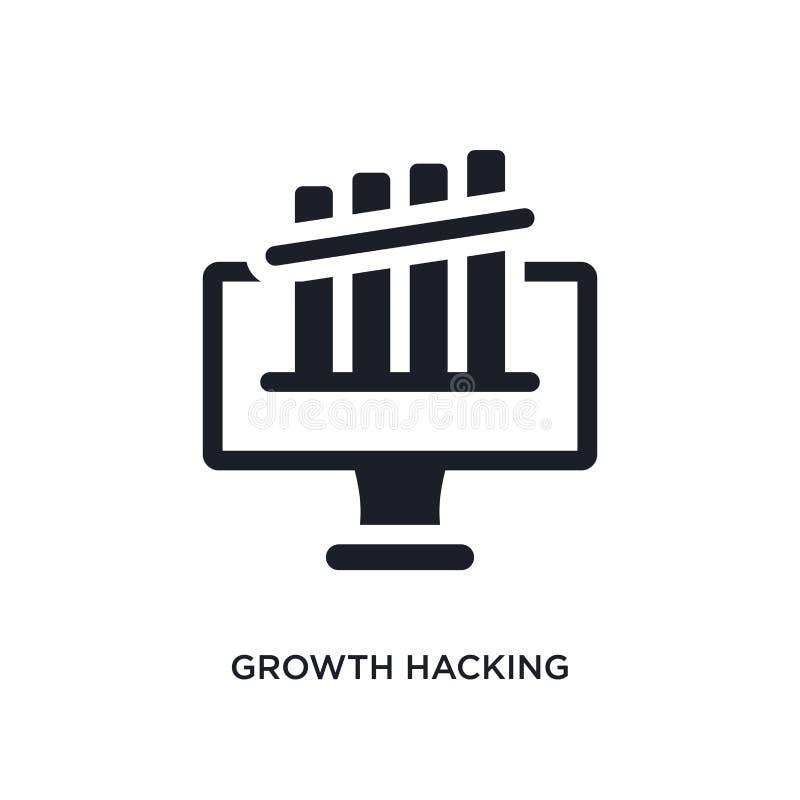 tillväxt som hackar den isolerade symbolen enkel beståndsdelillustration från teknologibegreppssymboler tillväxt som hackar redig royaltyfri illustrationer