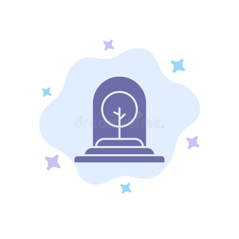 Tillväxt växt, affär, träd, ny blå symbol på abstrakt molnbakgrund stock illustrationer