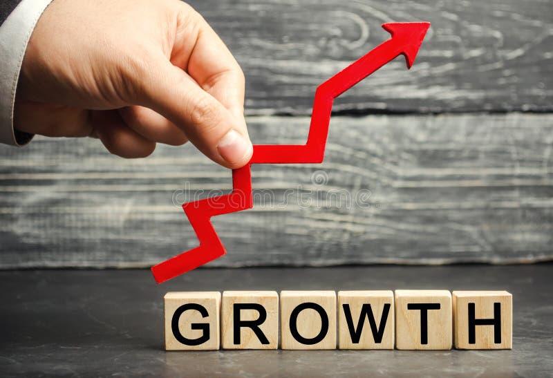 Tillväxten och upp pilen för inskrift Begreppet av en lyckad affär Förhöjning i inkomst, lön Tillväxten av företaget ', royaltyfri fotografi