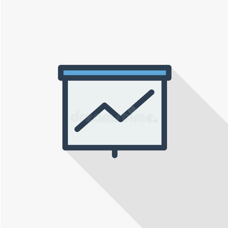 Tillväxtgrafdiagram, marknadsframgång, pil upp den tunna linjen lägenhetfärgsymbol Linjärt vektorsymbol Färgrik lång skugga stock illustrationer
