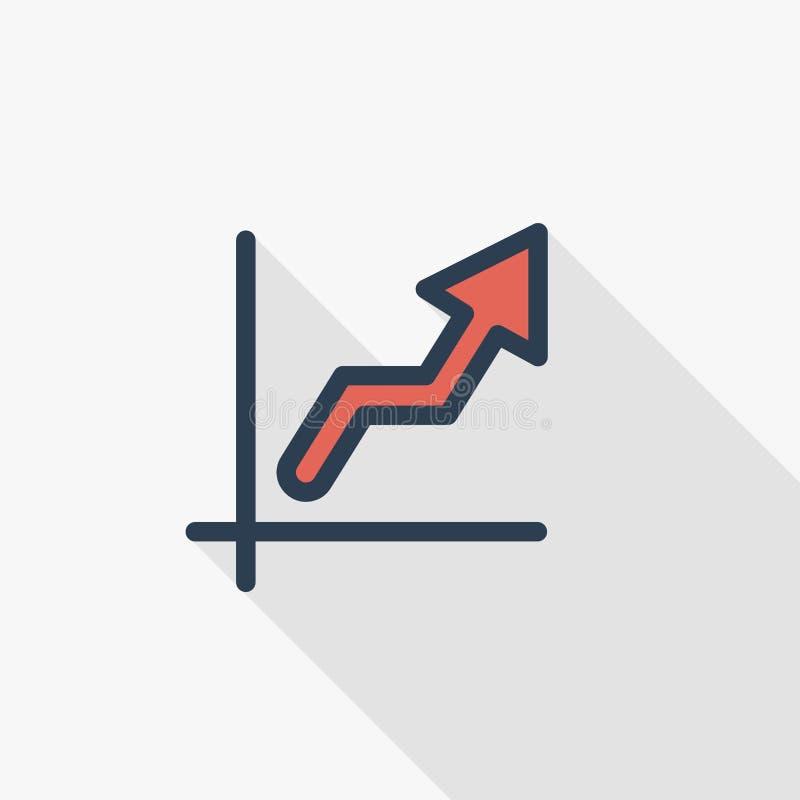 Tillväxtgrafdiagram, marknadsframgång, pil upp den tunna linjen lägenhetsymbol Design för skugga för linjärt vektorsymbol färgrik stock illustrationer
