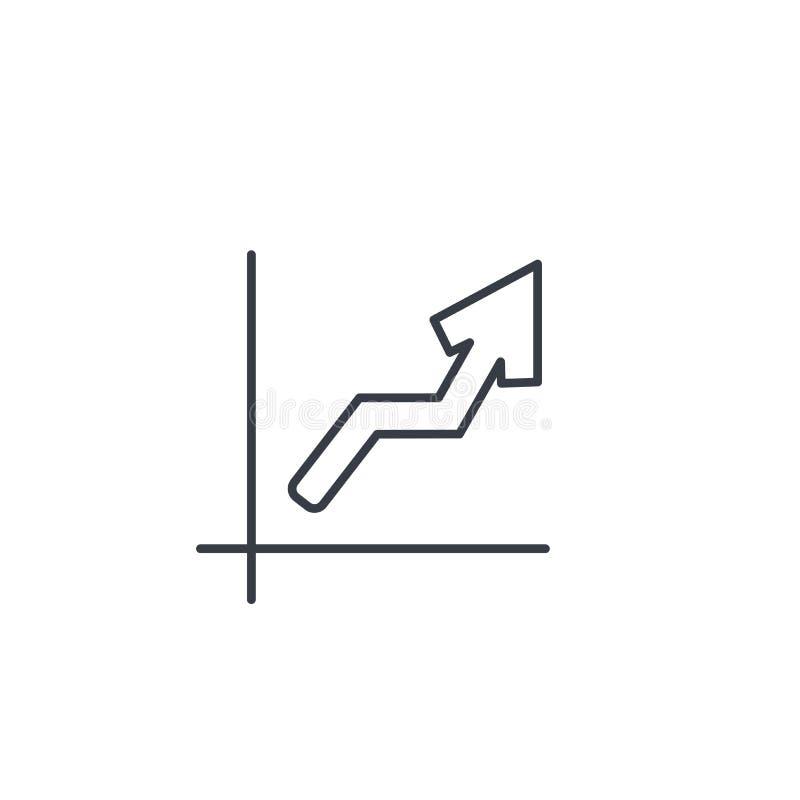 Tillväxtgrafdiagram, marknadsframgång, pil upp den tunna linjen symbol Linjärt vektorsymbol vektor illustrationer