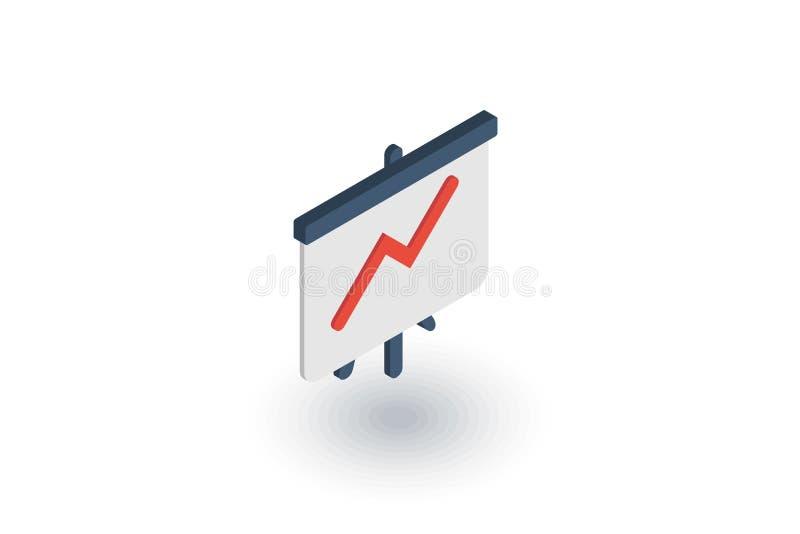 Tillväxtgrafdiagram, marknadsframgång, pil upp isometrisk plan symbol vektor 3d royaltyfri illustrationer