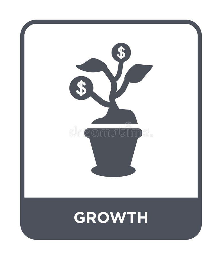 tillväxtsymbol i moderiktig designstil Tillväxtsymbol som isoleras på vit bakgrund enkelt och modernt plant symbol för tillväxtve vektor illustrationer