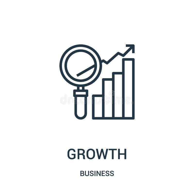 tillväxtsymbolsvektor från affärssamling Tunn linje illustration för vektor för tillväxtöversiktssymbol Linjärt symbol för bruk p vektor illustrationer
