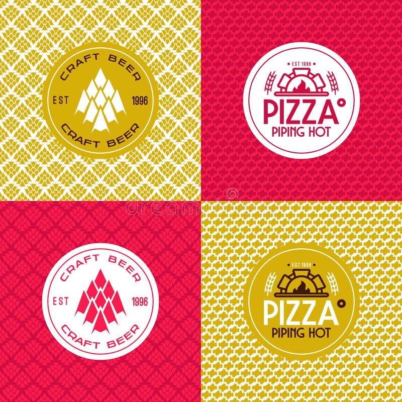 Tillverka öl och modeller och etiketter för pizza sömlösa vektor illustrationer