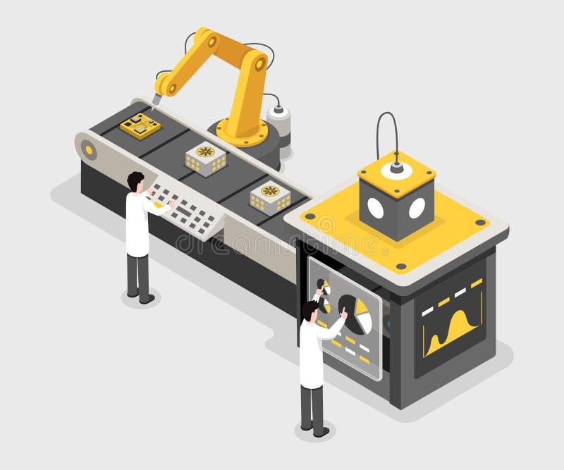 Tillverkningprocess, data som samlar lätthetsarbetare Teknikerövervakningprocess, isometrisk monteringsband stock illustrationer
