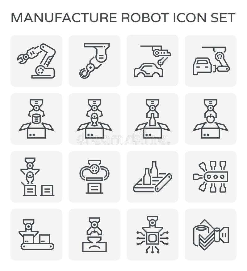 Tillverkningrobotsymbol royaltyfri illustrationer