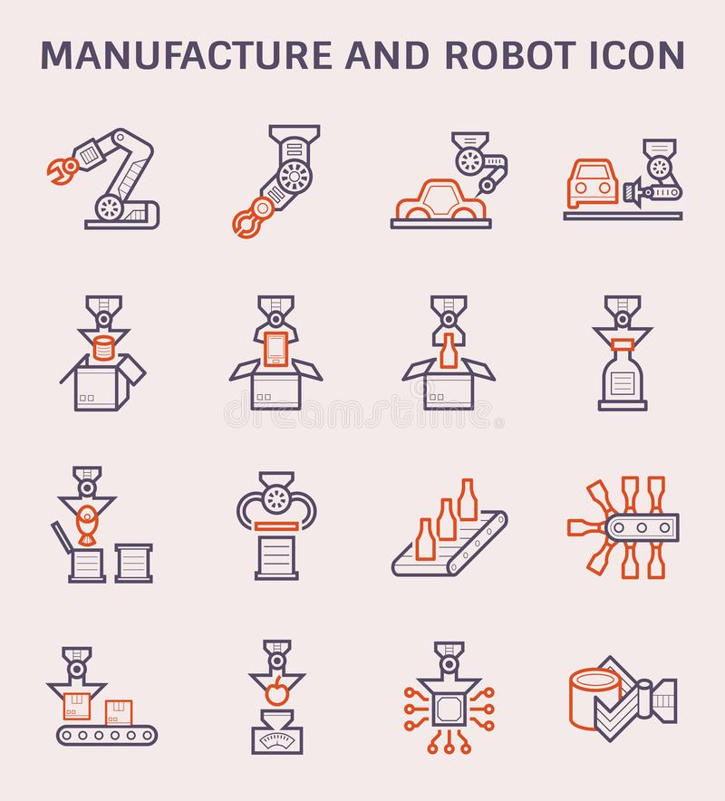 Tillverkningrobotsymbol vektor illustrationer