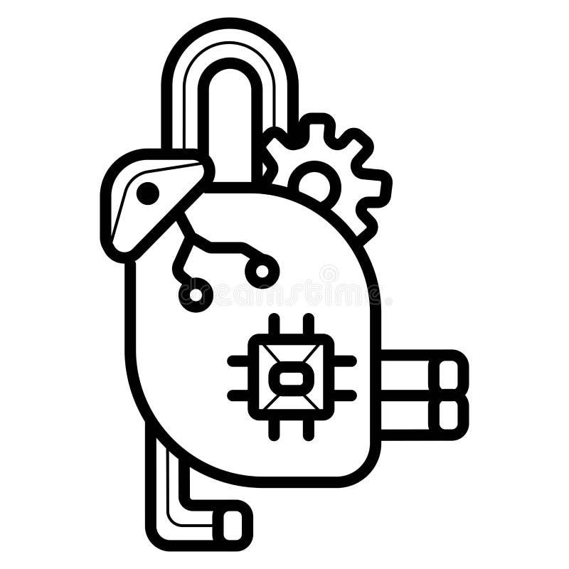 Tillverkningrobotsymbol stock illustrationer